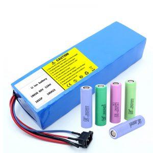 Litija akumulators 18650 60V 12AH litija jonu uzlādējams motorollera akumulators