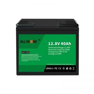 12.8V 40Ah LiFePO4 svina skābes nomaiņas litija jonu akumulators 12V 40Ah