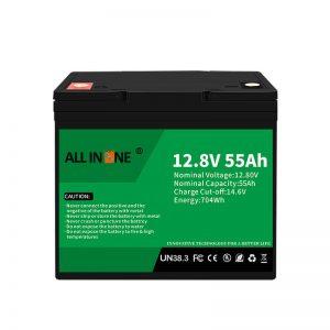 LiFePO4 bateriju nomaiņa svina skābes akumulatoram 12V 55Ah