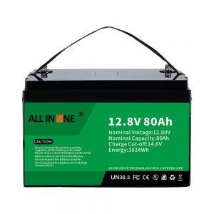 Populārākā svina skābes nomaiņas saules RV jūras LiFePO4 12V 80Ah litija baterija