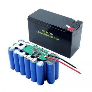 ALL IN ONE 18650 3S5P 12 voltu litija akumulators 11Ah uzlādējams litija akumulators