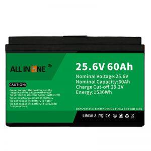 25.6V 60Ah drošība/ilgs kalpošanas laiks LFP akumulators RV/treilerim/UPS/golfa grozam 24V 60Ah