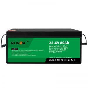 25.6V 80Ah drošība/ilgs kalpošanas laiks LFP akumulators RV/treilerim/UPS/golfa grozam 24V 80Ah