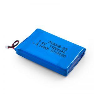 LiPO uzlādējamais akumulators 753048 3,7 V 1100 mAh / 7,4 V 1100 mAH / 3,7 V 2200 mAH