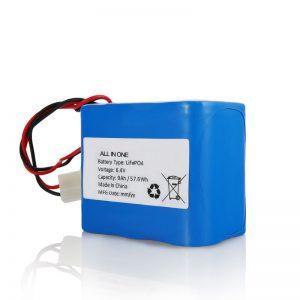 6.4V 12Ah LiFePO4 uzlādējams litija 26650 32650 akumulators ar savienotāju saules gaismai